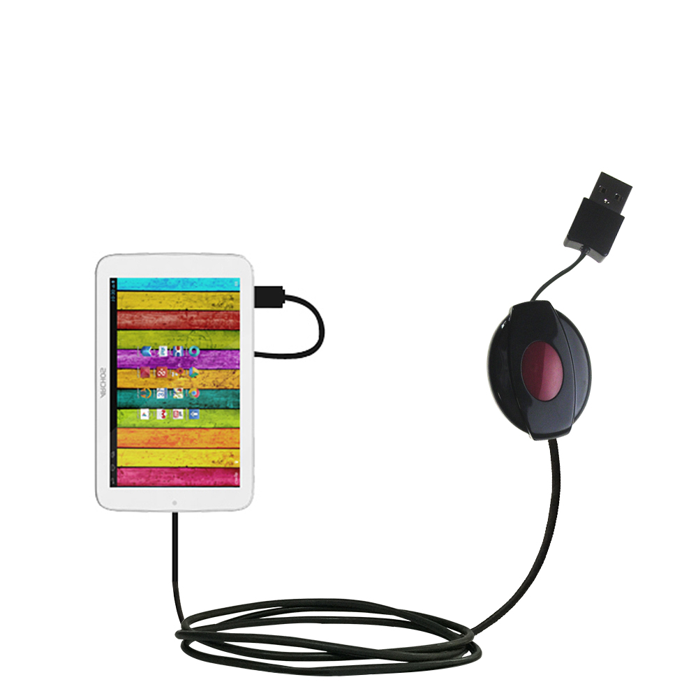 Retractable USB Power Port Ready charger cable designed for the Archos 70 / 70b Titanium and uses TipExchange
