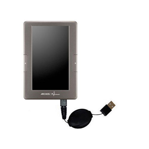 Retractable USB Power Port Ready charger cable designed for the Archos 70c eReader and uses TipExchange