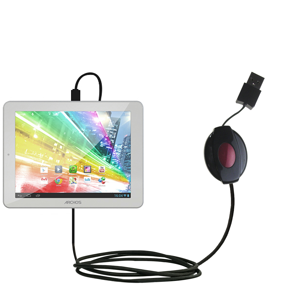 Retractable USB Power Port Ready charger cable designed for the Archos 80b Platinum and uses TipExchange