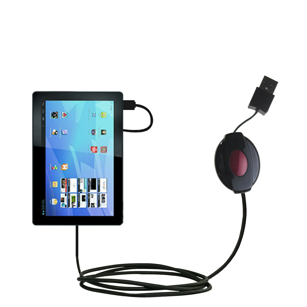 Retractable USB Power Port Ready charger cable designed for the Archos Familypad 2 and uses TipExchange