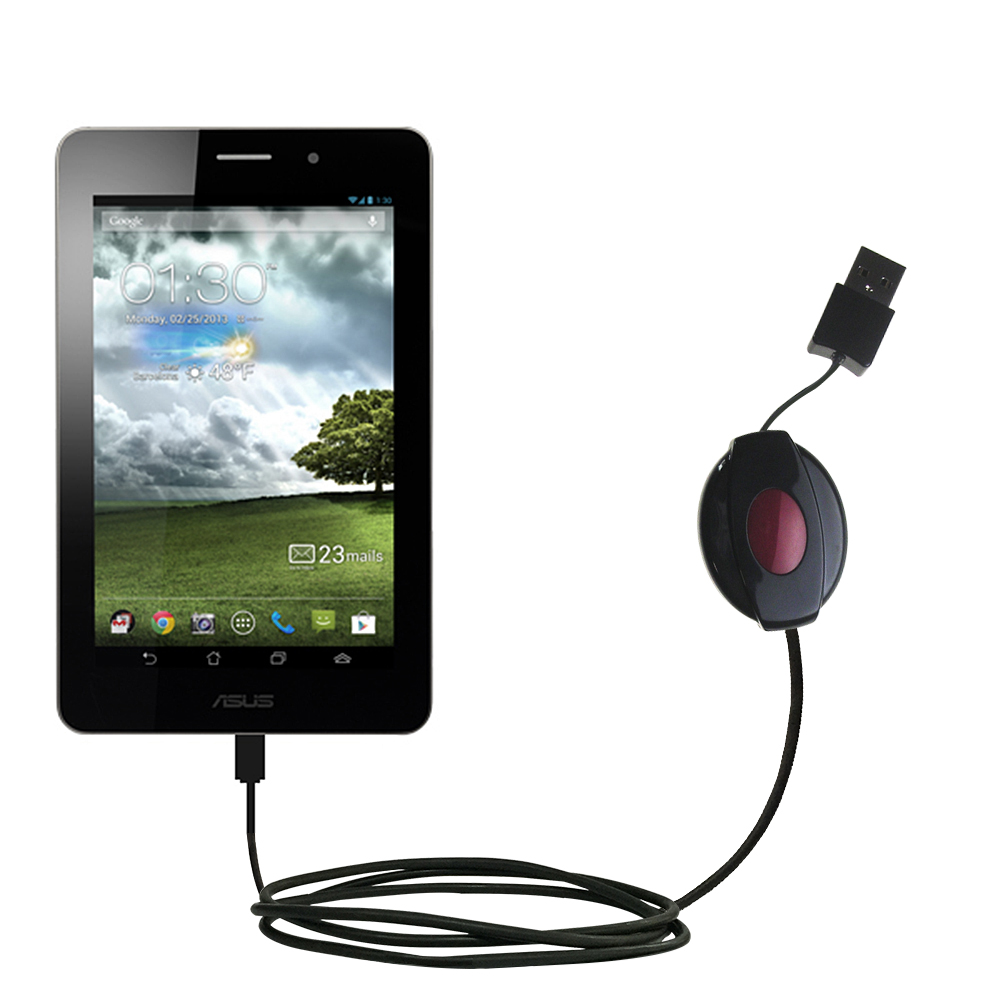 Retractable USB Power Port Ready charger cable designed for the Asus FonePad and uses TipExchange