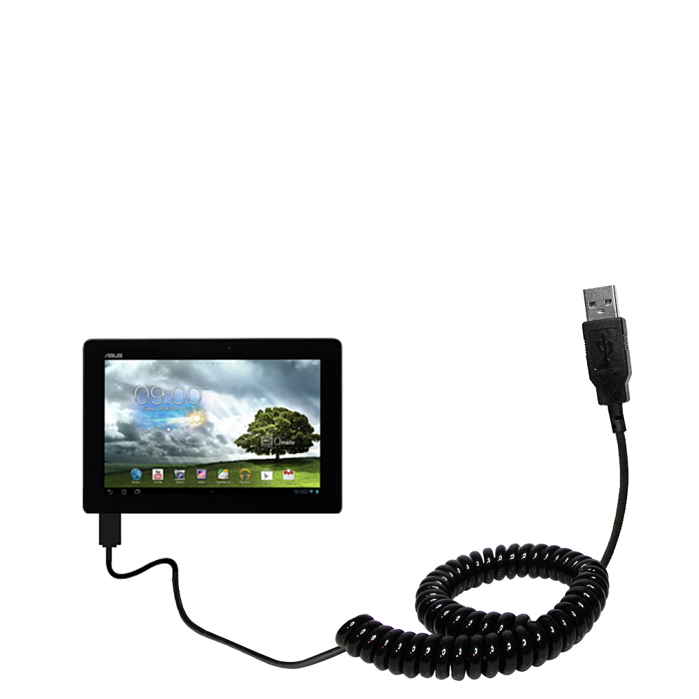 Coiled USB Cable compatible with the Asus MeMo Pad Smart 10