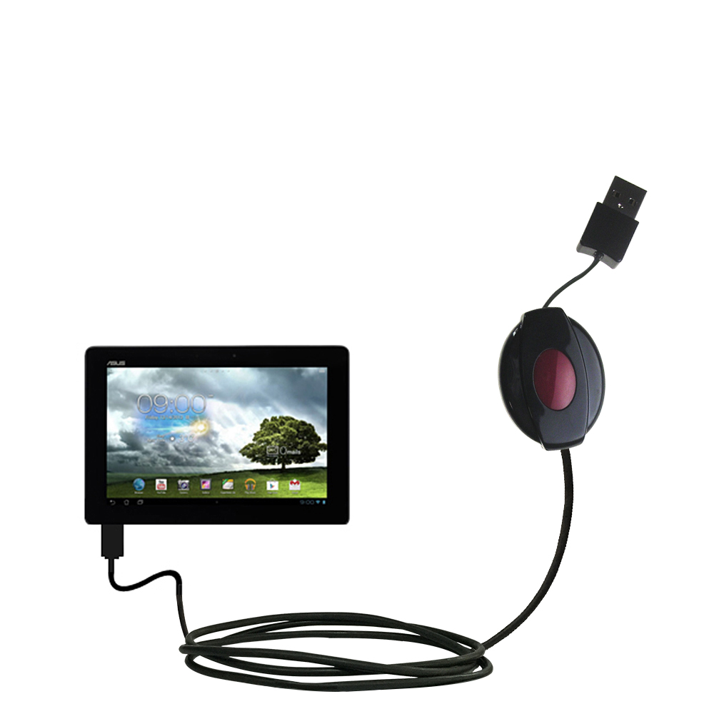 Retractable USB Power Port Ready charger cable designed for the Asus MeMo Pad Smart 10 and uses TipExchange
