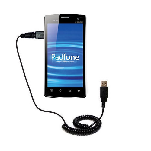 Coiled USB Cable compatible with the Asus PadFone