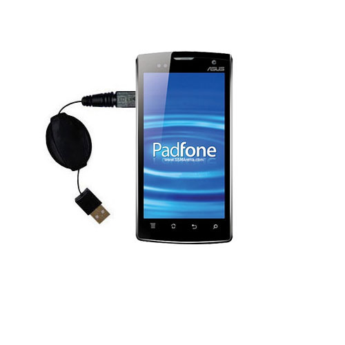 Retractable USB Power Port Ready charger cable designed for the Asus PadFone and uses TipExchange