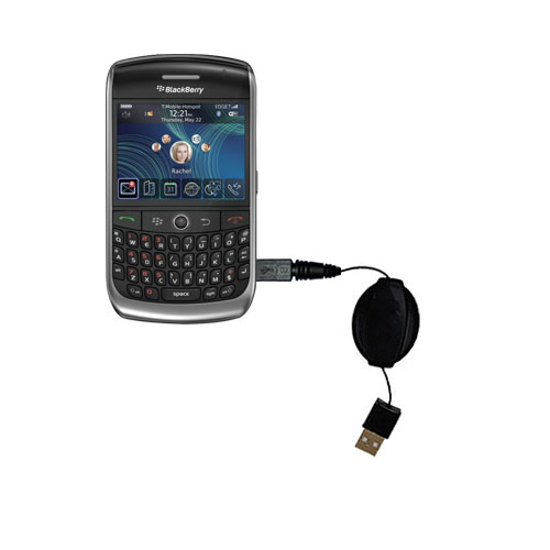 Retractable USB Power Port Ready charger cable designed for the Blackberry 8900 and uses TipExchange