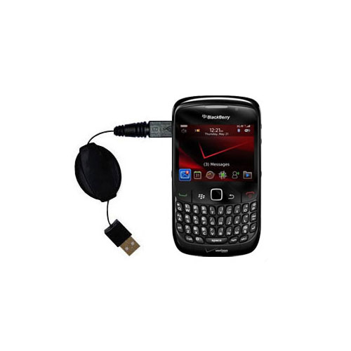 Retractable USB Power Port Ready charger cable designed for the Blackberry Bold 9650 and uses TipExchange