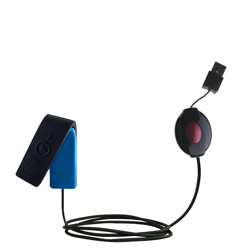 Retractable USB Power Port Ready charger cable designed for the BlueAnt RIBBON and uses TipExchange