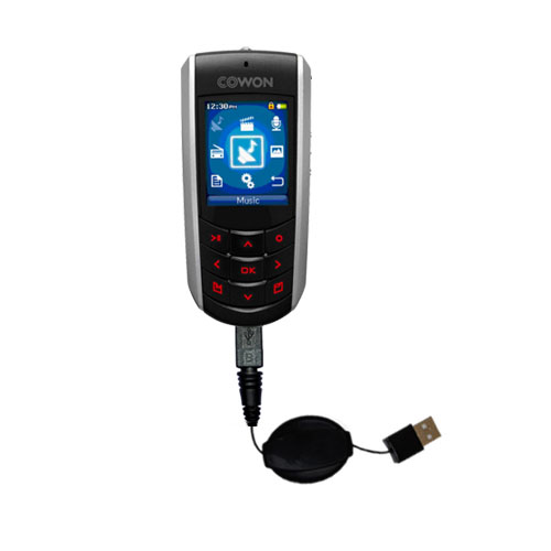 Retractable USB Power Port Ready charger cable designed for the Cowon iAudio F2 and uses TipExchange