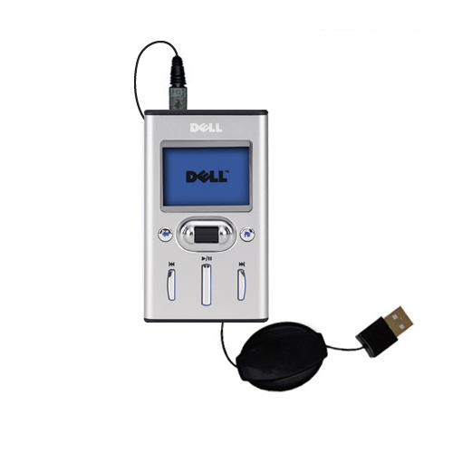 Retractable USB Power Port Ready charger cable designed for the Dell Pocket DJ 15GB and uses TipExchange