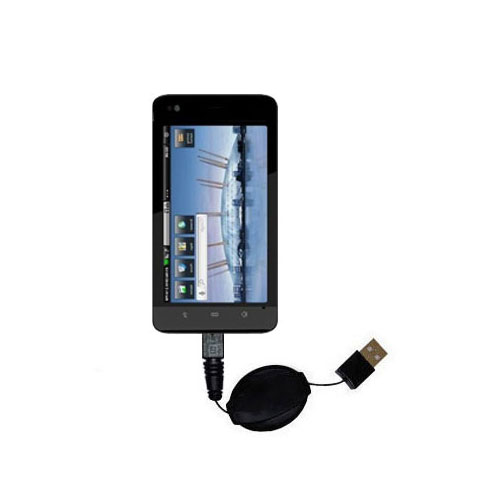 Retractable USB Power Port Ready charger cable designed for the Dell Streak 5 and uses TipExchange