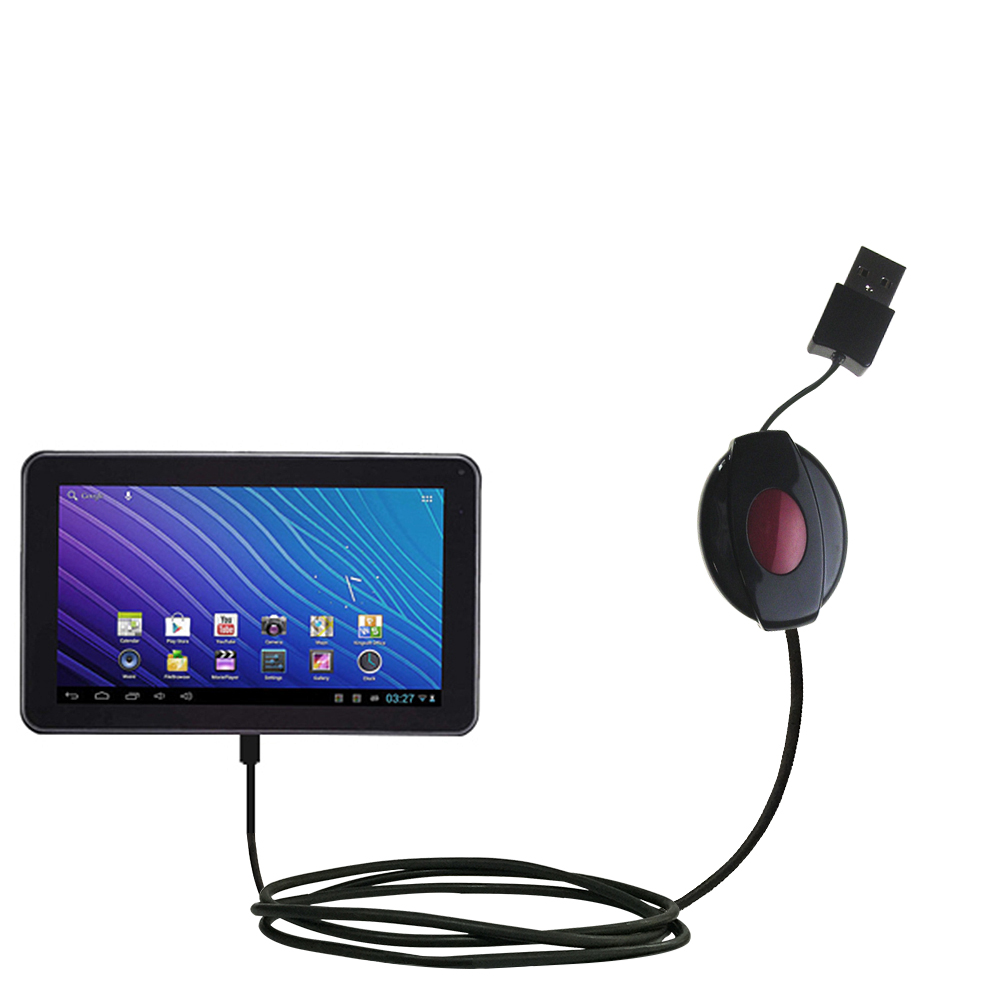 Retractable USB Power Port Ready charger cable designed for the Double Power DOPO GS-918 9 inch tablet and uses TipExchange