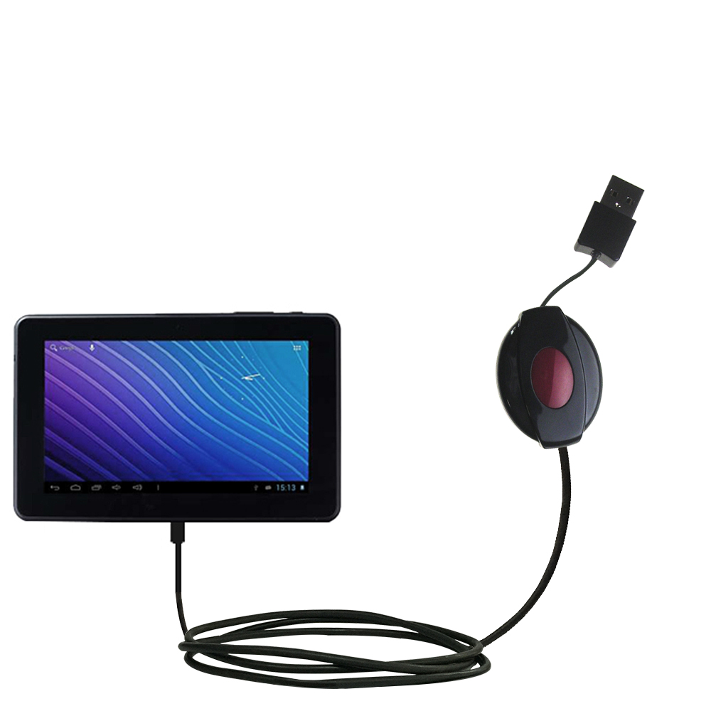 Retractable USB Power Port Ready charger cable designed for the Double Power M7088 7 inch tablet and uses TipExchange