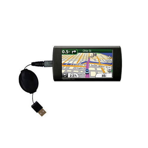 Retractable USB Power Port Ready charger cable designed for the Garmin 295W and uses TipExchange