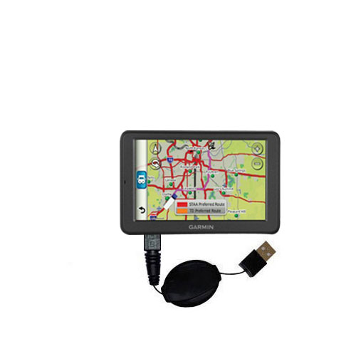 Retractable USB Power Port Ready charger cable designed for the Garmin dezl 560 560LT 560LMT and uses TipExchange
