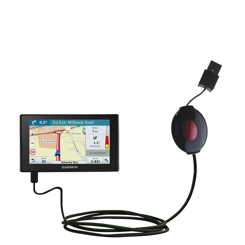 Retractable USB Power Port Ready charger cable designed for the Garmin DriveAssist 51-LMT and uses TipExchange