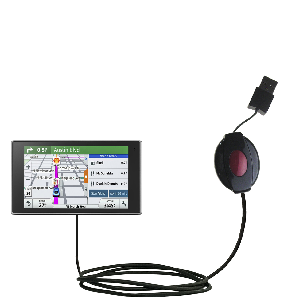 Retractable USB Power Port Ready charger cable designed for the Garmin DriveSmart 50LMTHD and uses TipExchange