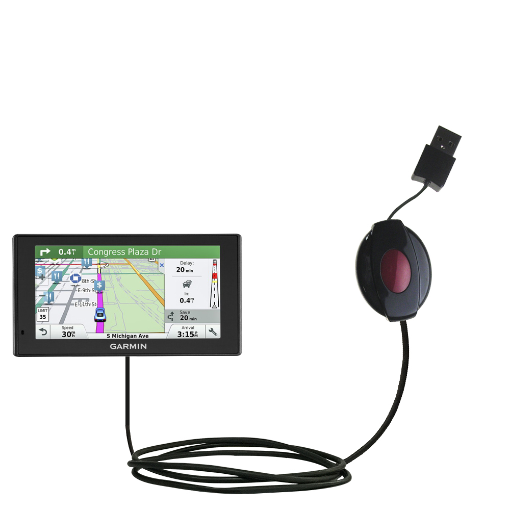 Retractable USB Power Port Ready charger cable designed for the Garmin DriveSmart 60LMT and uses TipExchange
