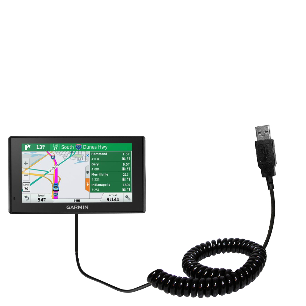 Coiled USB Cable compatible with the Garmin DriveSmart 70LMT