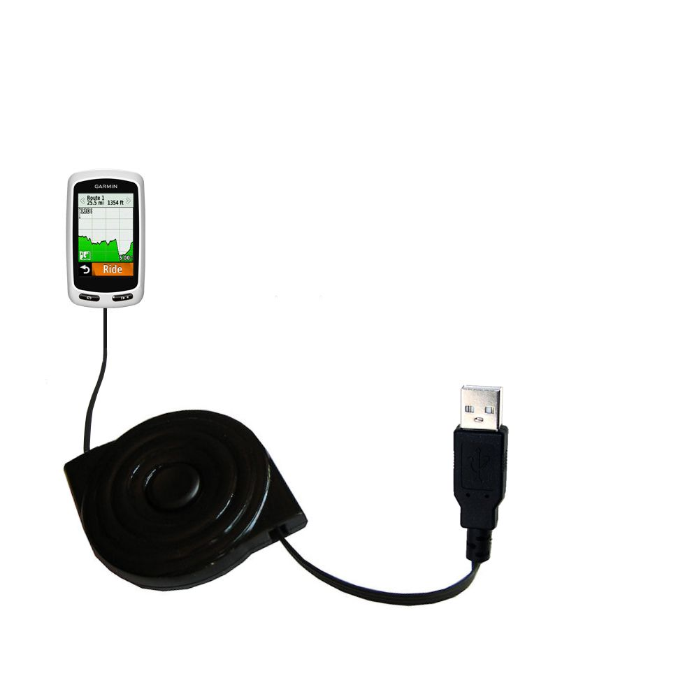 Retractable USB Power Port Ready charger cable designed for the Garmin Edge 1000 and uses TipExchange