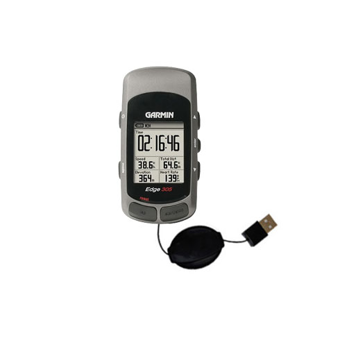 Retractable USB Power Port Ready charger cable designed for the Garmin Edge 205 and uses TipExchange