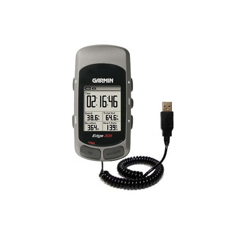 Coiled USB Cable compatible with the Garmin Edge 305
