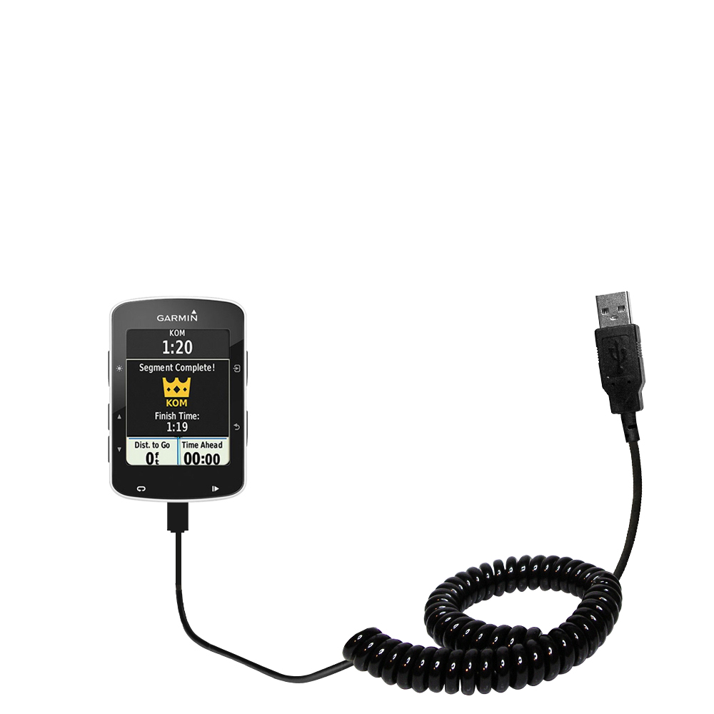 Coiled USB Cable compatible with the Garmin EDGE 520