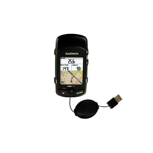 Retractable USB Power Port Ready charger cable designed for the Garmin Edge 705 and uses TipExchange