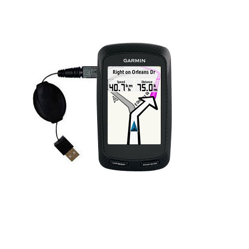 Retractable USB Power Port Ready charger cable designed for the Garmin Edge 800 and uses TipExchange