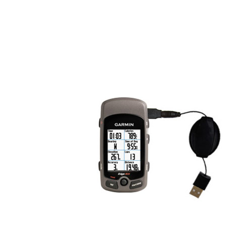 Retractable USB Power Port Ready charger cable designed for the Garmin Edge and uses TipExchange