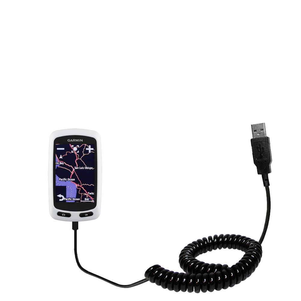 Coiled USB Cable compatible with the Garmin EDGE Touring