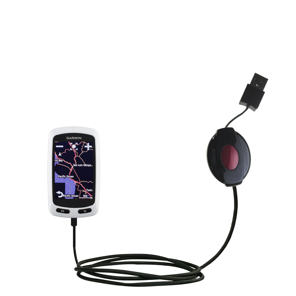Retractable USB Power Port Ready charger cable designed for the Garmin EDGE Touring and uses TipExchange