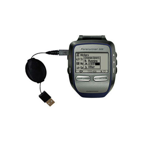 Retractable USB Power Port Ready charger cable designed for the Garmin Forerunner 205 and uses TipExchange