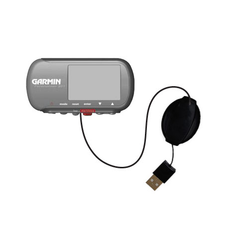Retractable USB Power Port Ready charger cable designed for the Garmin Forerunner 301 and uses TipExchange