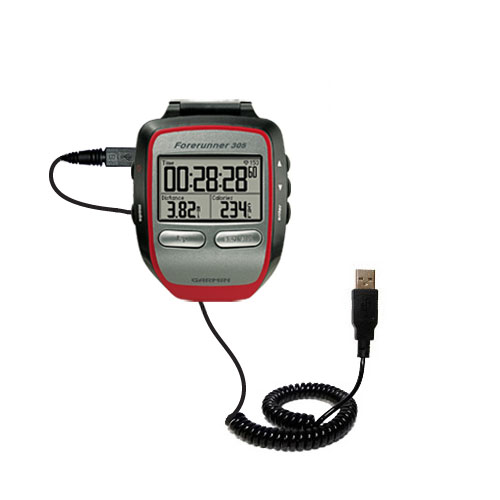 Coiled USB Cable compatible with the Garmin Forerunner 305