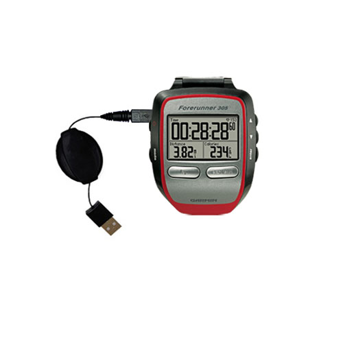 Retractable USB Power Port Ready charger cable designed for the Garmin Forerunner 305 and uses TipExchange