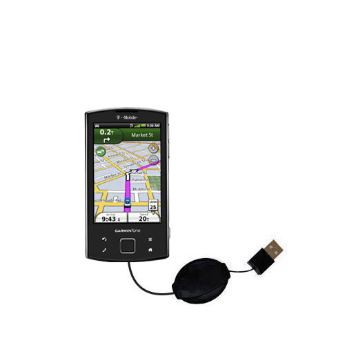 Retractable USB Power Port Ready charger cable designed for the Garmin Garminfone and uses TipExchange
