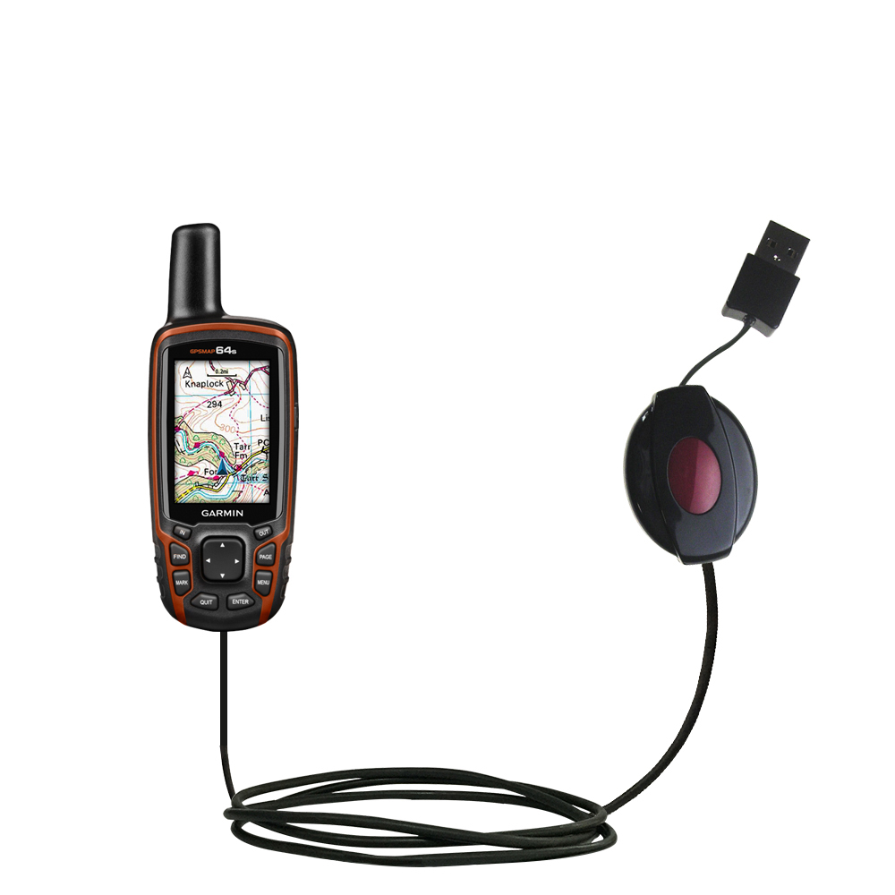 Retractable USB Power Port Ready charger cable designed for the Garmin GPSMAP 64 / 64s / 64st and uses TipExchange