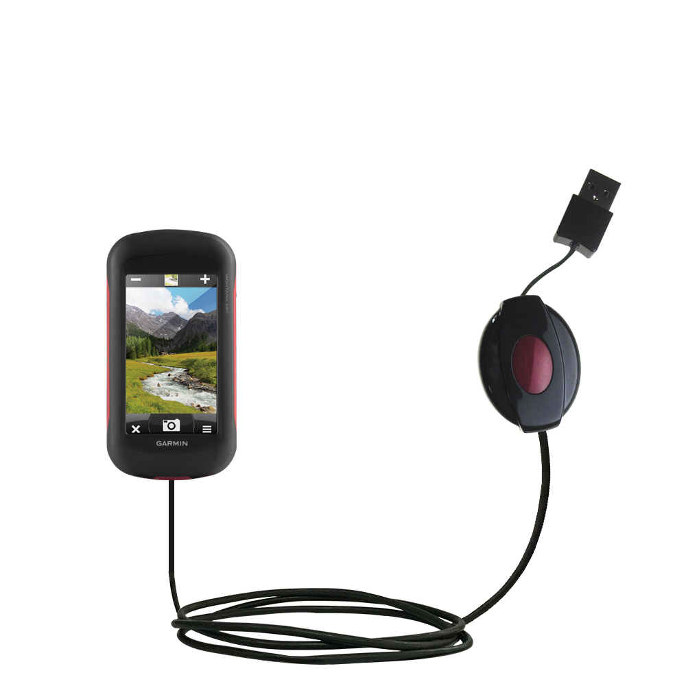 Retractable USB Power Port Ready charger cable designed for the Garmin Montana 680 / 680t and uses TipExchange