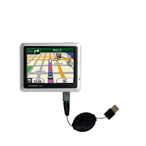 Retractable USB Power Port Ready charger cable designed for the Garmin nuvi 1100 and uses TipExchange