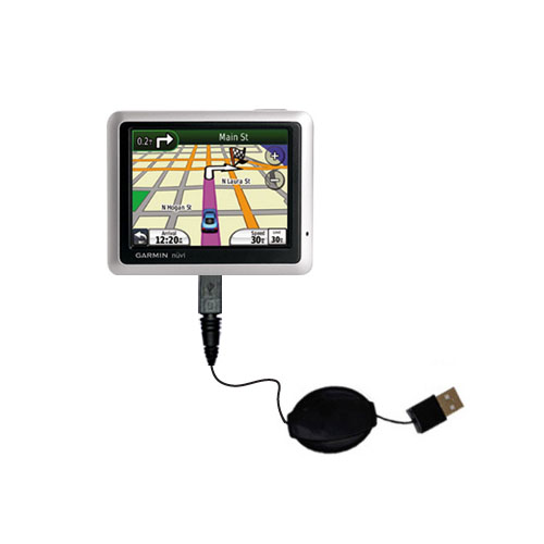 Retractable USB Power Port Ready charger cable designed for the Garmin Nuvi 1200 1210 and uses TipExchange