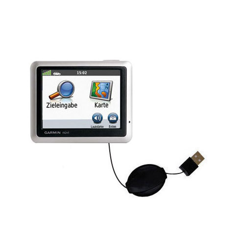 Retractable USB Power Port Ready charger cable designed for the Garmin Nuvi 1240 and uses TipExchange