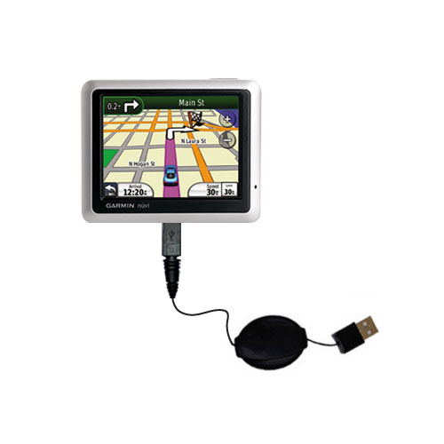 Retractable USB Power Port Ready charger cable designed for the Garmin Nuvi 1250 and uses TipExchange