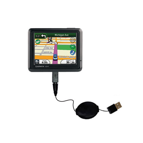 Retractable USB Power Port Ready charger cable designed for the Garmin Nuvi 1260T and uses TipExchange