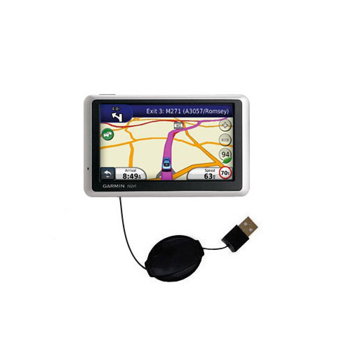 Retractable USB Power Port Ready charger cable designed for the Garmin Nuvi 1340T and uses TipExchange