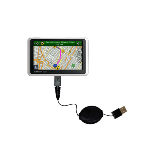Retractable USB Power Port Ready charger cable designed for the Garmin Nuvi 1350 and uses TipExchange
