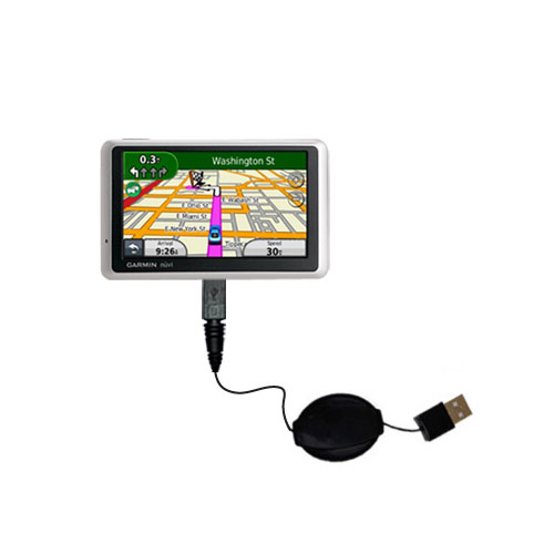 Retractable USB Power Port Ready charger cable designed for the Garmin Nuvi 1350T and uses TipExchange