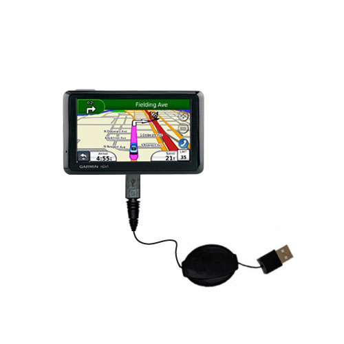 Retractable USB Power Port Ready charger cable designed for the Garmin Nuvi 1370T and uses TipExchange