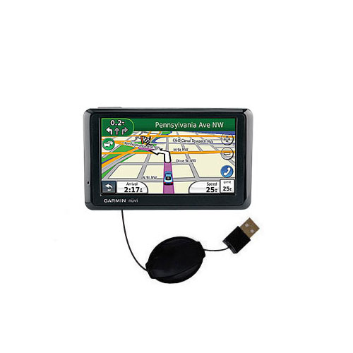 Retractable USB Power Port Ready charger cable designed for the Garmin Nuvi 1370Tpro and uses TipExchange