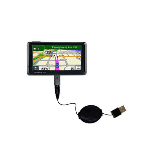 Retractable USB Power Port Ready charger cable designed for the Garmin Nuvi 1390T and uses TipExchange